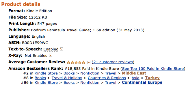 Bodrum Peninsula Travel Guide Rankings on Amazon Best Seller