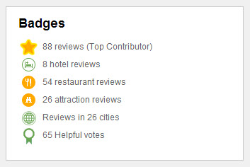 Jay's Trip Advisor Badges as of July 2014
