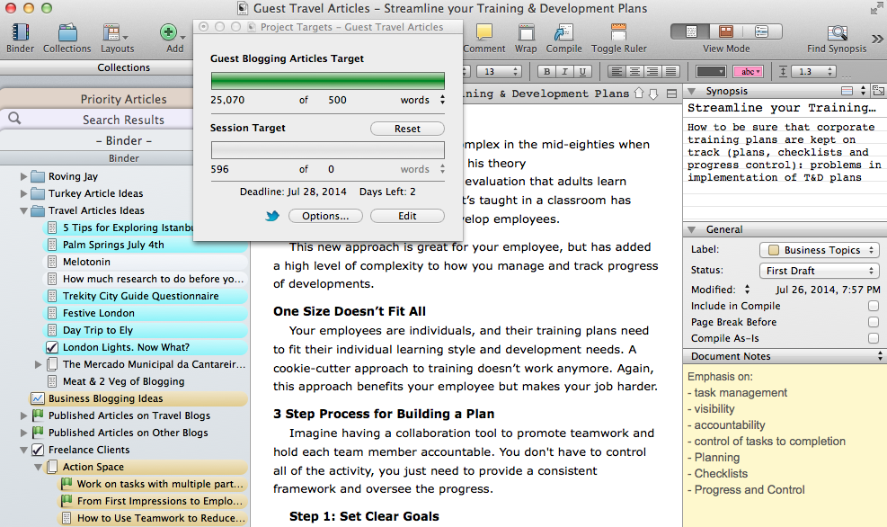 Scrivener Screenshot. Using Synopsis Document Notes Guest Blogging on Track