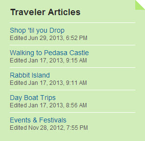 Jay's list of Traveler Articles on Trip Advisor as of July 2014