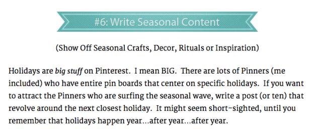 Write Seasonal content for pinterest