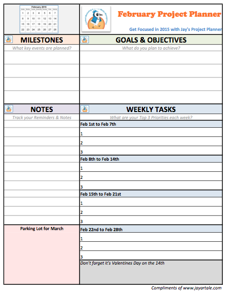 February 2015 Free Project Planner Template