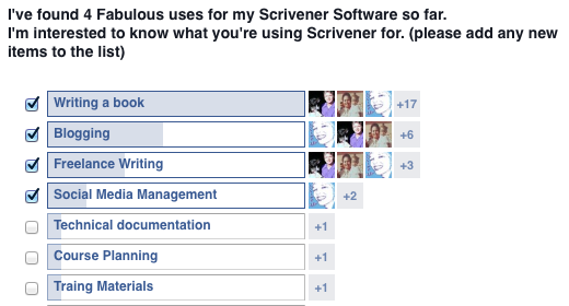 Scrivener Ninjas Facebook Group poll by Jay Artale
