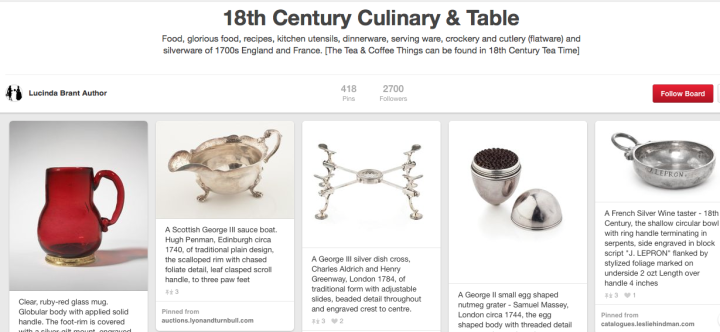 Pinterest 18th Century Culinary and Table Social Media Jay Artale