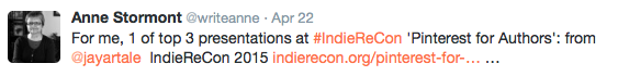 Pinterest for Authors Recommendation Tweet for @JayArtale Presenter at IndieReCon 2015
