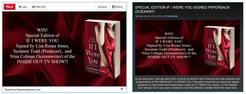 Signed Book Giveaway on Pinterest