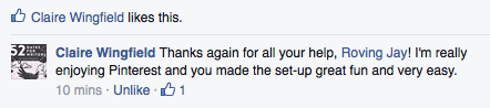 Feedback from Claire on Facebook