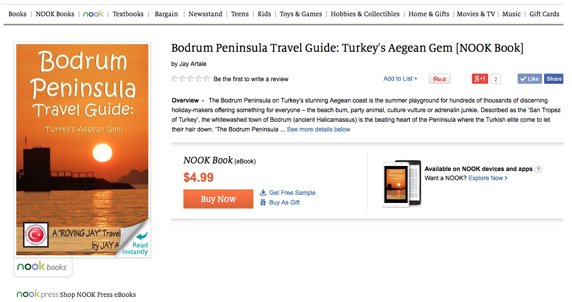Barnes and Nobel page for Bodrum Peninsula Travel Guide by Jay Artale