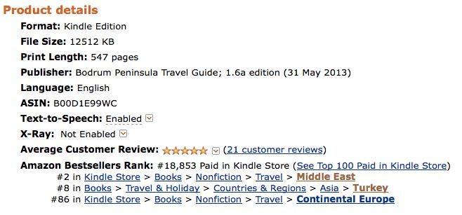 Bodrum Peninsula Travel Guide Rankings on Amazon Best Seller