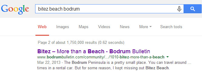 Bodrum Bulletin google rankings for my Bitez Beach Article