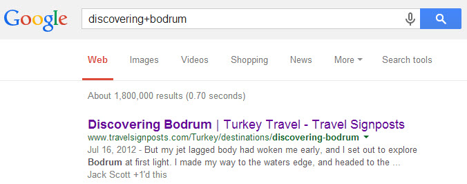 Travel Signposts Bodrum Google Search Engine Rank