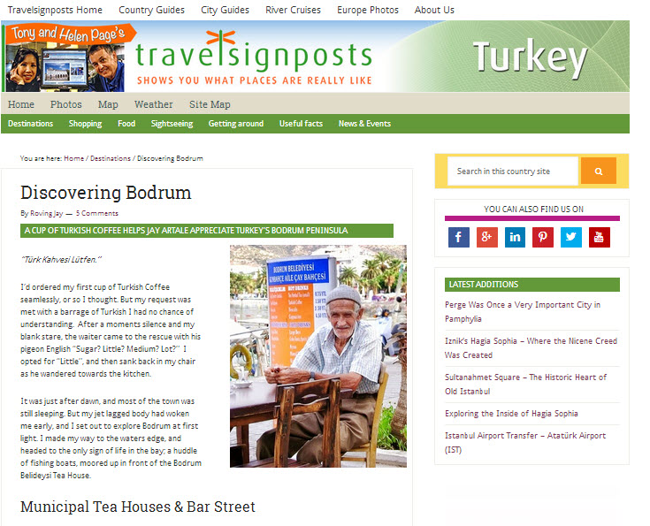 TravelSign Posts Travel Website Hosted Jay Artale's Bodrum Turkey Article