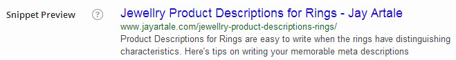 Meta Description for this Article shown as search engine results