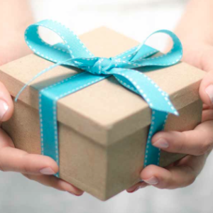 Brown gift box with turquoise ribbon