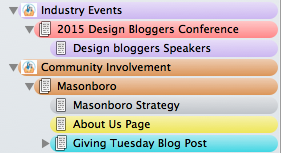 Industry Events and Community Involvement Folders in Scrivener