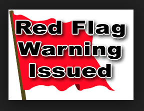 Red Flag on white background with black border