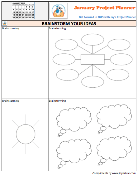 January 2015 Free Project Planner Template Brainstorm