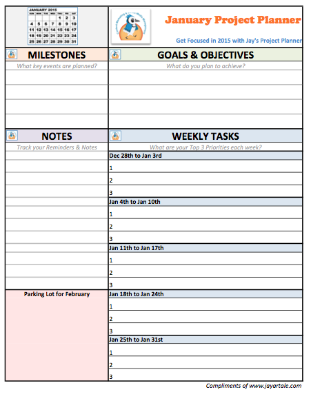 January 2015 Free Project Planner Template