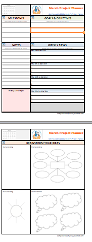 March 2015 Project Plan template for brainstorming your ideas