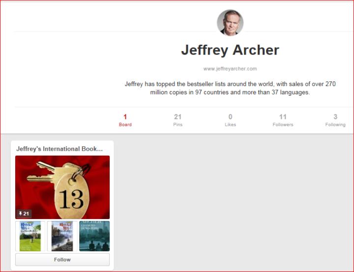 Jeffrey Archer Pinterest Board Social Media Roving Jay