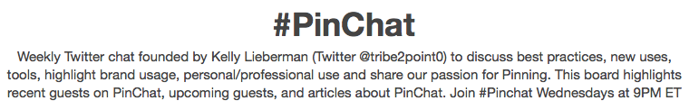 Pinterest Pin Board for #PinChat